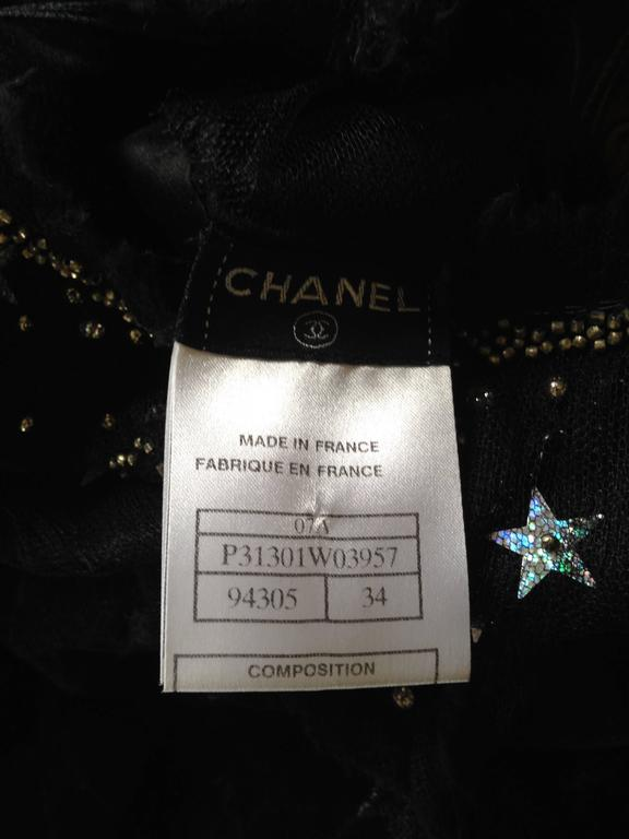 Chanel 2007A Demi Couture  Black Velvet Evening Dress w/ Beading and Stars FR 34 10