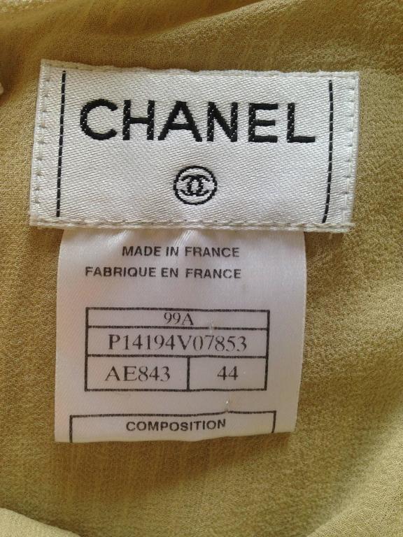 Chanel 1999A Sparkling Gold and Green Vertical Hand Beaded Halter Top FR44 10