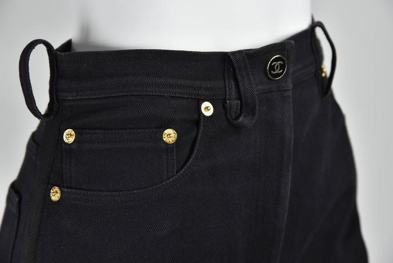 "Chanel Boutique 1994 Black Jeans With 1"" Black Grosgrain Ribbon On Sides  FR 38 7"