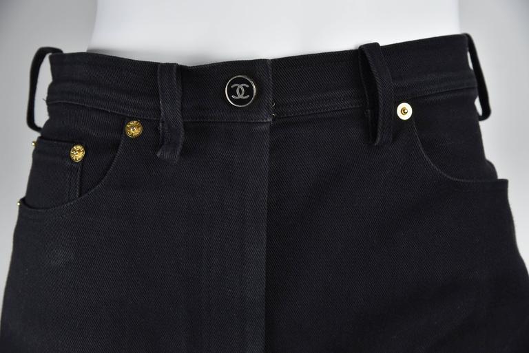 "Chanel Boutique 1994 Black Jeans With 1"" Black Grosgrain Ribbon On Sides  FR 38 5"