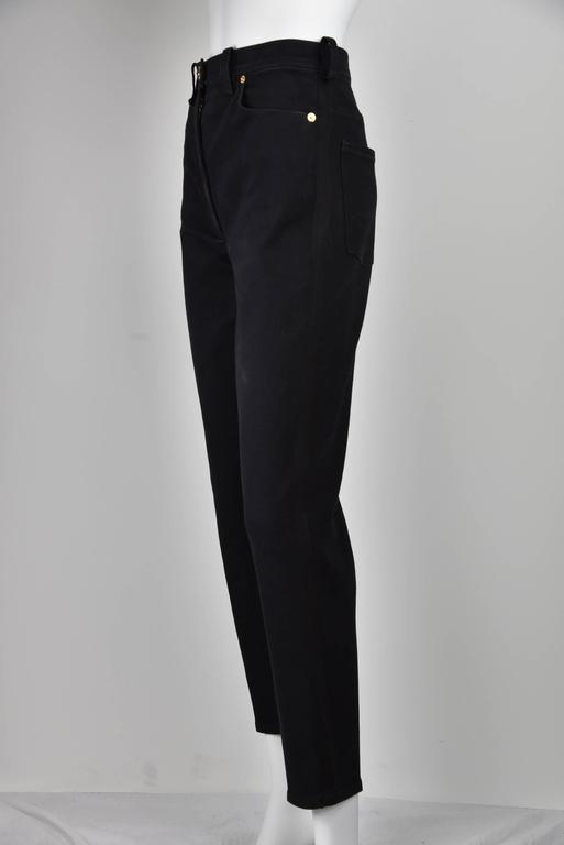 "Chanel Boutique 1994 Black Jeans With 1"" Black Grosgrain Ribbon On Sides  FR 38 3"