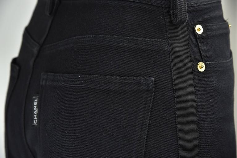 "Chanel Boutique 1994 Black Jeans With 1"" Black Grosgrain Ribbon On Sides  FR 38 6"