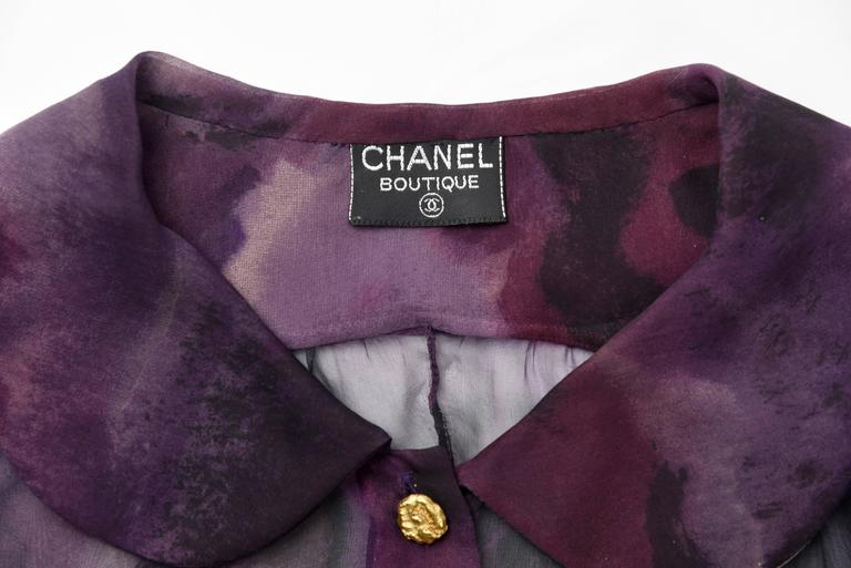 1990s Chanel Boutique Label Sheer Purple Silk Print Blouse w/Gold Nugget Buttons 10