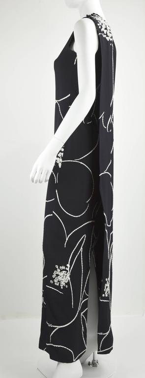 1990s Bob Mackie Black Evening Gown with White Bead and crystal sequin Outlines 2