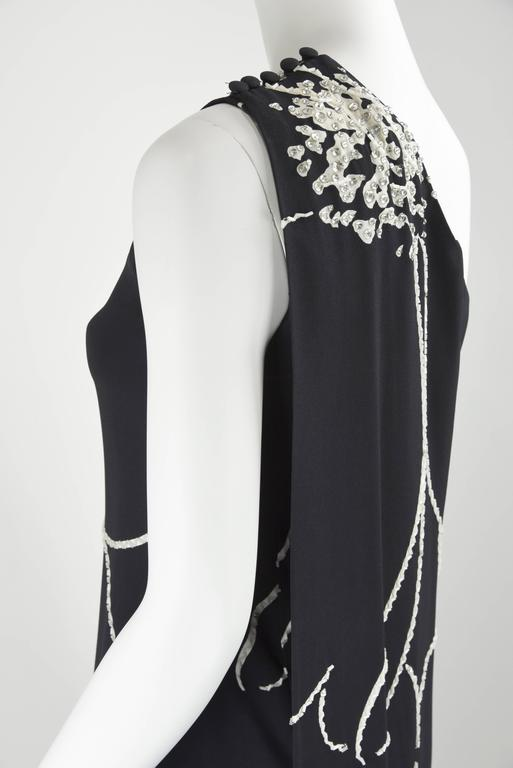 1990s Bob Mackie Black Evening Gown with White Bead and crystal sequin Outlines 10