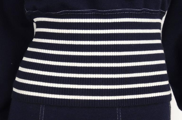 Chanel 2008C Navy/White Casual Knit Pullover & Skirt w/Chanel Airplanes  FR38/40 4