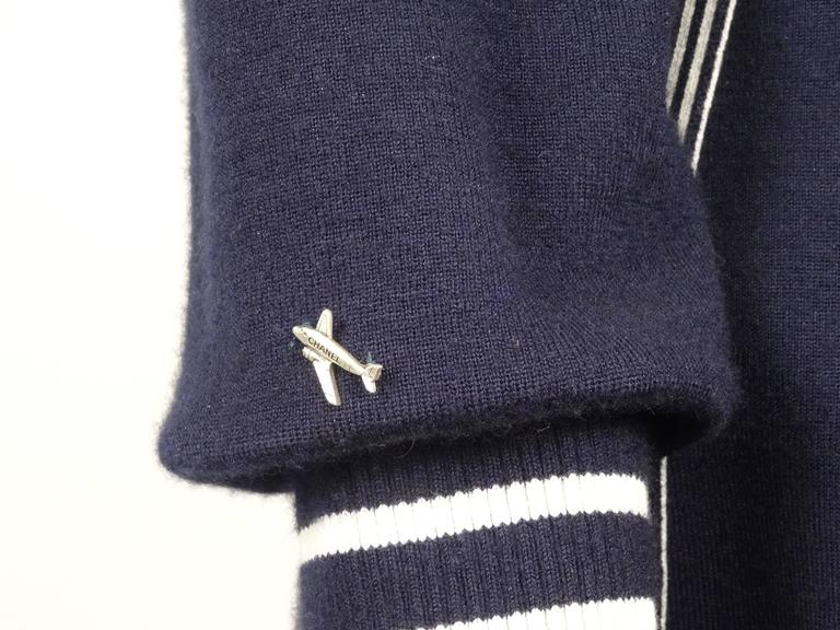 Chanel 2008C Navy/White Casual Knit Pullover & Skirt w/Chanel Airplanes  FR38/40 7