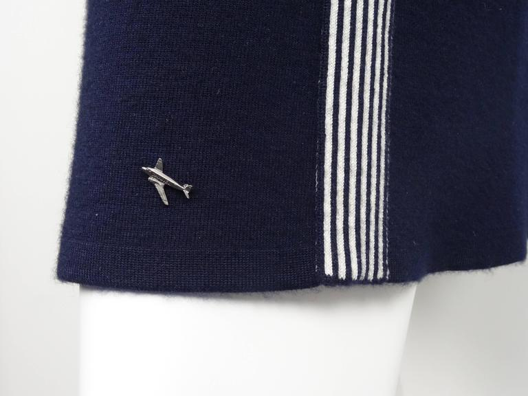 Chanel 2008C Navy/White Casual Knit Pullover & Skirt w/Chanel Airplanes  FR38/40 8