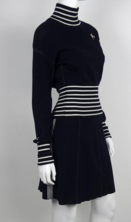 Chanel 2008C Navy/White Casual Knit Pullover & Skirt w/Chanel Airplanes  FR38/40 2