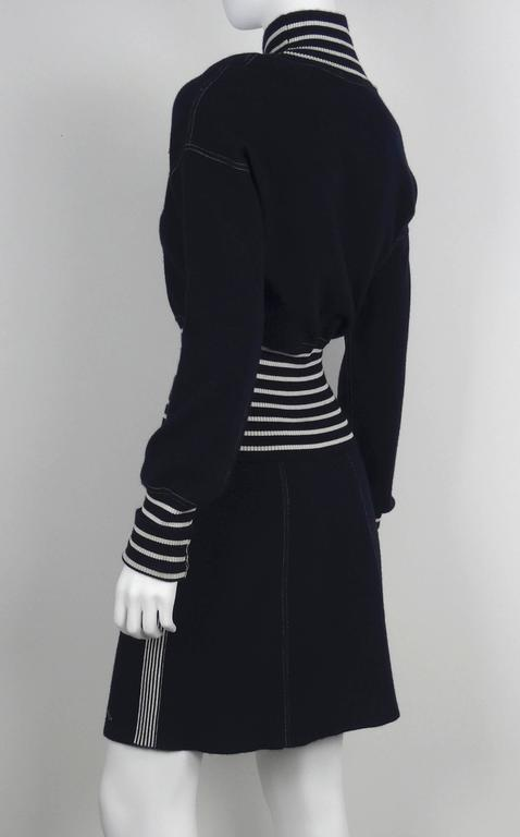 Chanel 2008C Navy/White Casual Knit Pullover & Skirt w/Chanel Airplanes  FR38/40 3