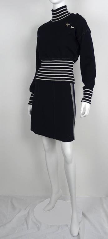Chanel 2008C Navy/White Casual Knit Pullover & Skirt w/Chanel Airplanes  FR38/40 5