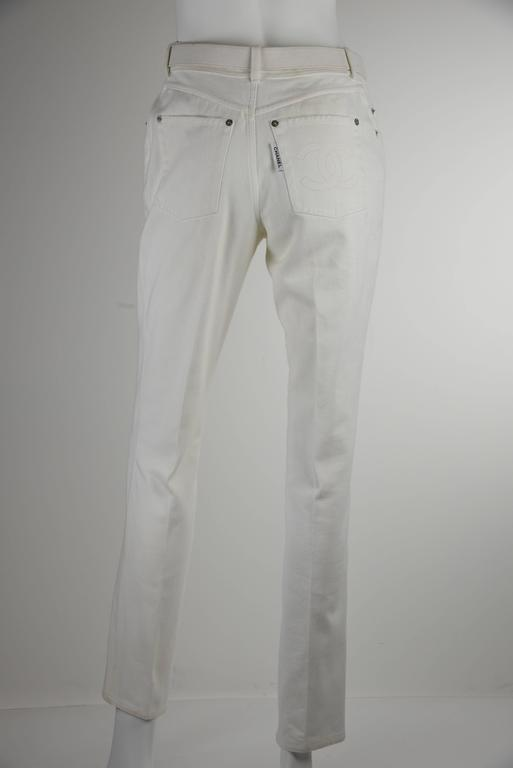 Chanel 1995P White Twill Cotton Jeans with Silver Belt Buckle & CC Pocket FR38 2