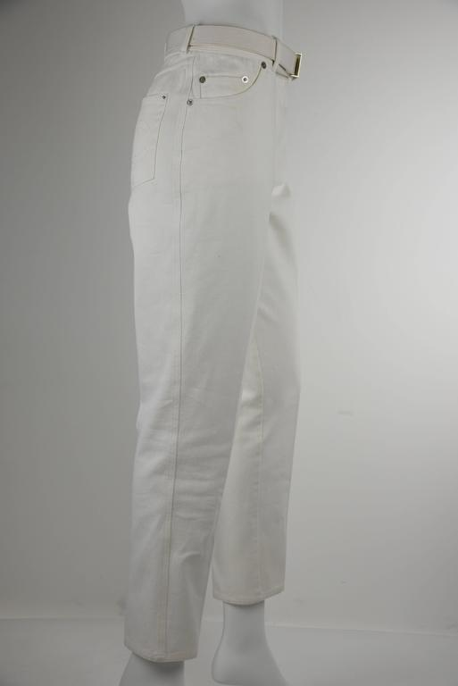 Chanel 1995P White Twill Cotton Jeans with Silver Belt Buckle & CC Pocket FR38 3
