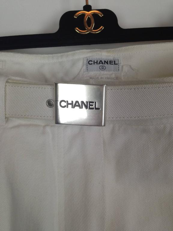 Chanel 1995P White Twill Cotton Jeans with Silver Belt Buckle & CC Pocket FR38 6
