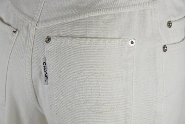Chanel 1995P White Twill Cotton Jeans with Silver Belt Buckle & CC Pocket FR38 4
