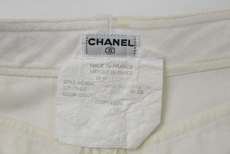 Chanel 1995P White Twill Cotton Jeans with Silver Belt Buckle & CC Pocket FR38 7