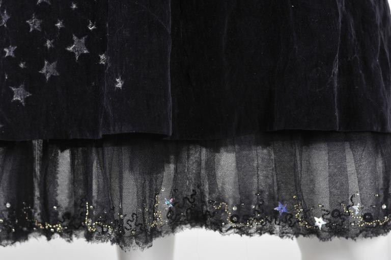 Chanel 2007A Demi Couture  Black Velvet Evening Dress w/ Beading and Stars FR 34 4