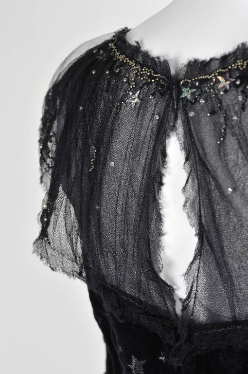 Chanel 2007A Demi Couture  Black Velvet Evening Dress w/ Beading and Stars FR 34 5