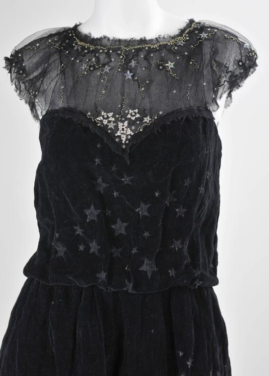 Chanel 2007A Demi Couture  Black Velvet Evening Dress w/ Beading and Stars FR 34 6