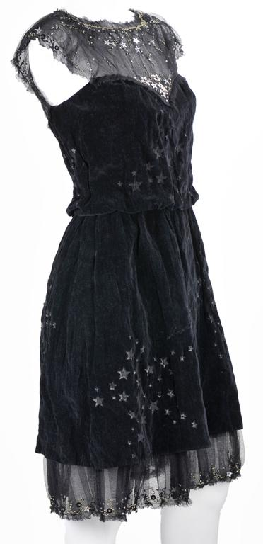 Chanel 2007A Demi Couture  Black Velvet Evening Dress w/ Beading and Stars FR 34 2