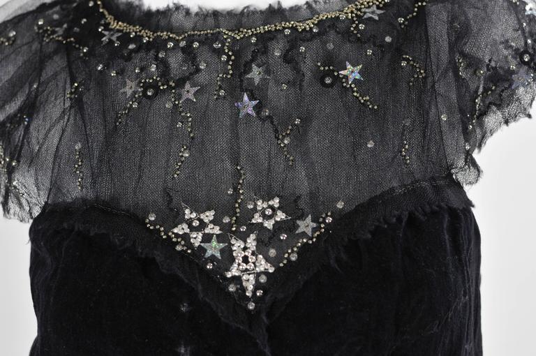 Chanel 2007A Demi Couture  Black Velvet Evening Dress w/ Beading and Stars FR 34 7