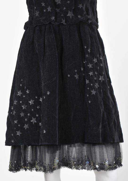Chanel 2007A Demi Couture  Black Velvet Evening Dress w/ Beading and Stars FR 34 9