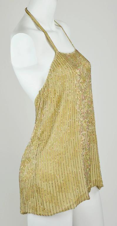 Chanel 1999A Sparkling Gold and Green Vertical Hand Beaded Halter Top FR44 4