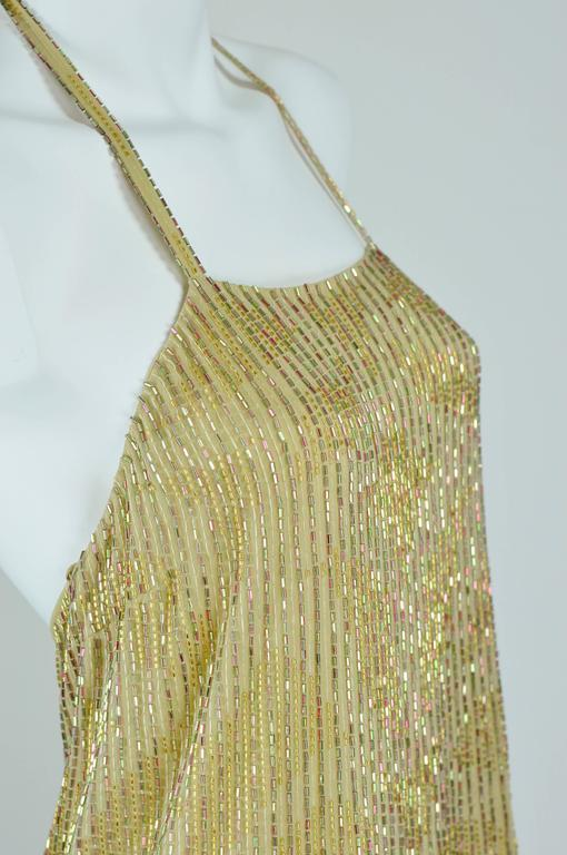 Chanel 1999A Sparkling Gold and Green Vertical Hand Beaded Halter Top FR44 2