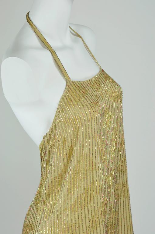 Chanel 1999A Sparkling Gold and Green Vertical Hand Beaded Halter Top FR44 3