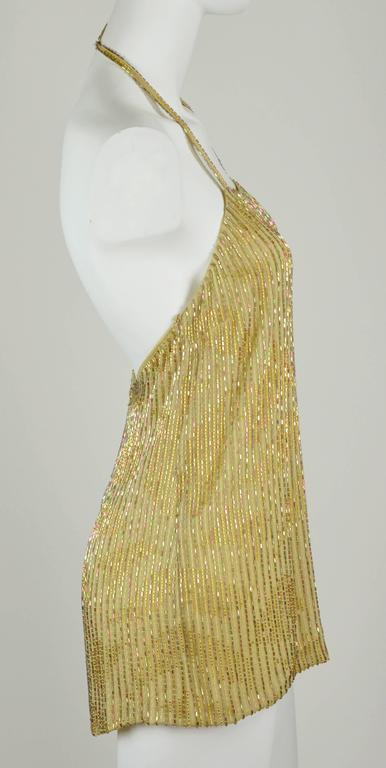 Chanel 1999A Sparkling Gold and Green Vertical Hand Beaded Halter Top FR44 5