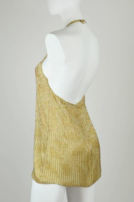 Chanel 1999A Sparkling Gold and Green Vertical Hand Beaded Halter Top FR44 6