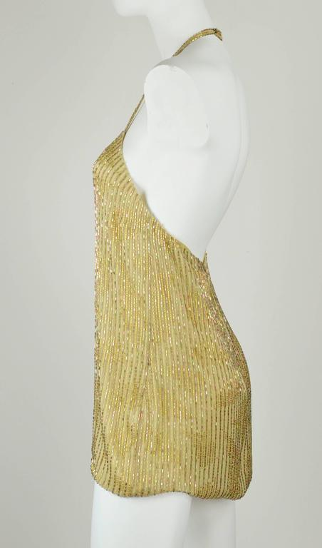 Chanel 1999A Sparkling Gold and Green Vertical Hand Beaded Halter Top FR44 7