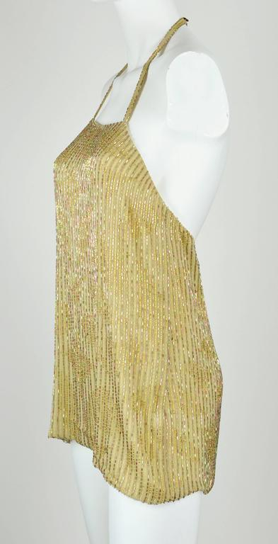Chanel 1999A Sparkling Gold and Green Vertical Hand Beaded Halter Top FR44 8