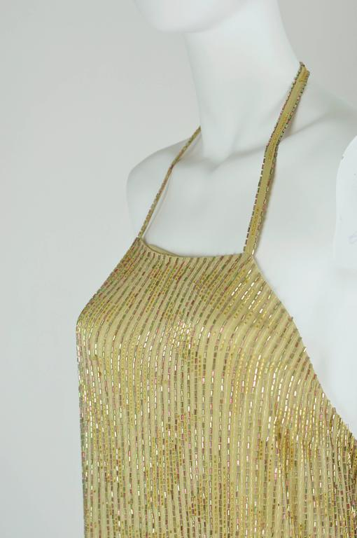 Chanel 1999A Sparkling Gold and Green Vertical Hand Beaded Halter Top FR44 9