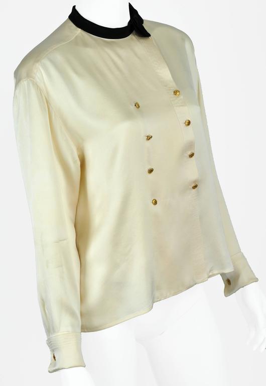Chanel Boutique circa1984 White Satin Black Bow Pristine Classic Blouse FR38 2
