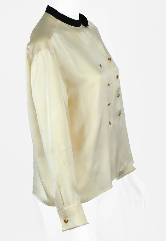 Chanel Boutique circa1984 White Satin Black Bow Pristine Classic Blouse FR38 5