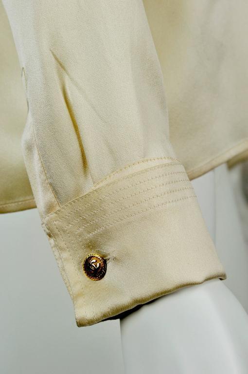 Chanel Boutique circa1984 White Satin Black Bow Pristine Classic Blouse FR38 6