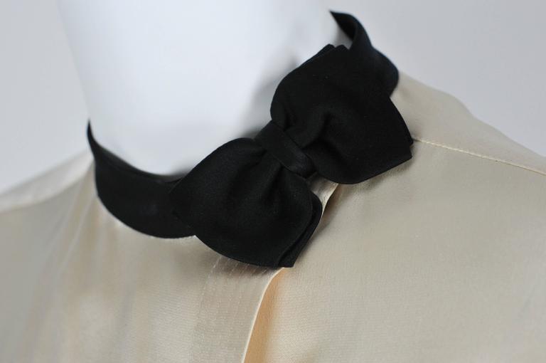 Chanel Boutique circa1984 White Satin Black Bow Pristine Classic Blouse FR38 3