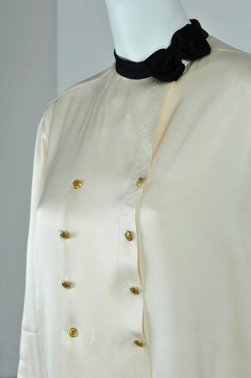 Chanel Boutique circa1984 White Satin Black Bow Pristine Classic Blouse FR38 4