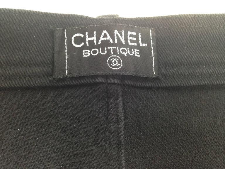 "Chanel Boutique 1994 Black Jeans With 1"" Black Grosgrain Ribbon On Sides  FR 38 8"