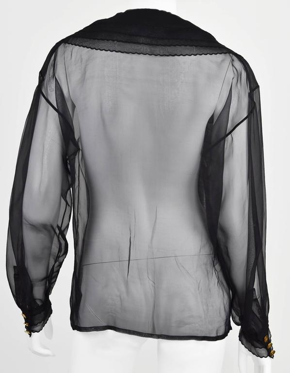 1980's Collection Sheer Silk Blouse w/Triple layer Collar & Cuffs  FR 38. 9