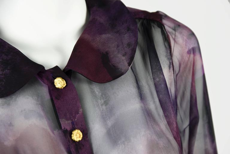 1990s Chanel Boutique Label Sheer Purple Silk Print Blouse w/Gold Nugget Buttons 6
