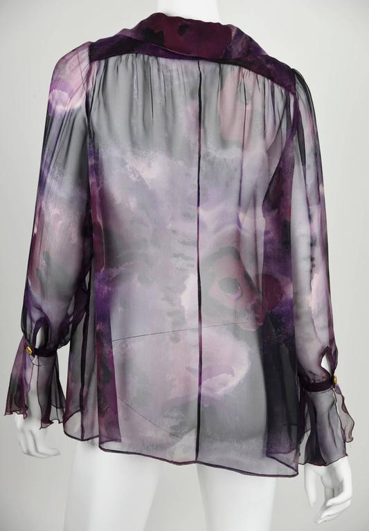 1990s Chanel Boutique Label Sheer Purple Silk Print Blouse w/Gold Nugget Buttons 7