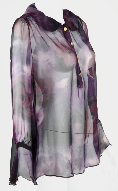 1990s Chanel Boutique Label Sheer Purple Silk Print Blouse w/Gold Nugget Buttons 5