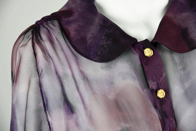 1990s Chanel Boutique Label Sheer Purple Silk Print Blouse w/Gold Nugget Buttons 8