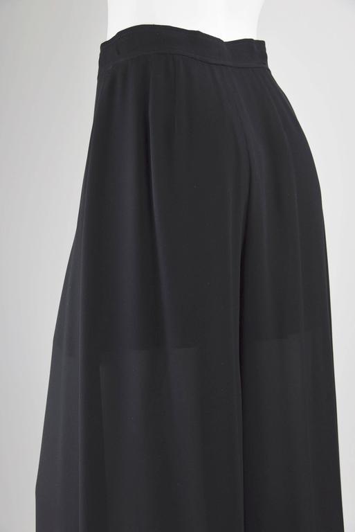 1990 Chanel Boutique Label Black Silk Crepe Flowing Pants ...