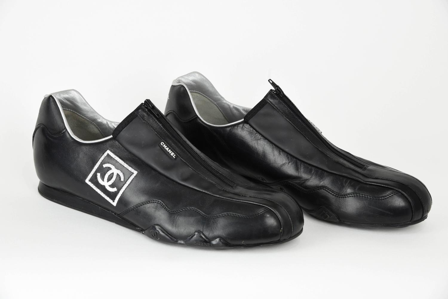 2000s chanel sleek black leather athletic shoes with