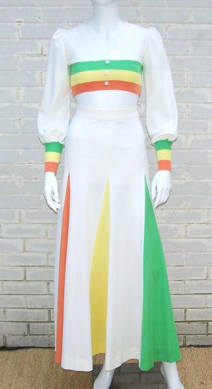 Fabulous and outrageous!  This 2-piece ensemble is reminiscent of the sporty trend popular in the 1970s...think Dallas Cowboy cheerleaders and Cher's bare midriff all in one ensemble.  Both pieces are a polyester jersey designed by 'Chateau du