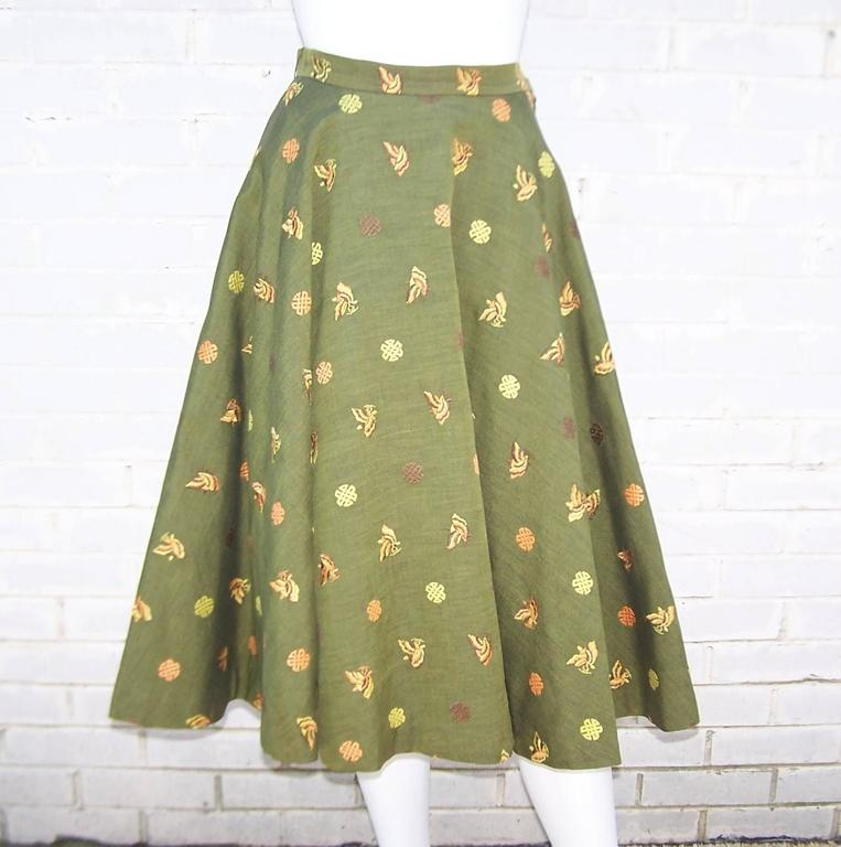 1950's Asian Inspired Full Circle Skirt With Embroidered Butterflies  2