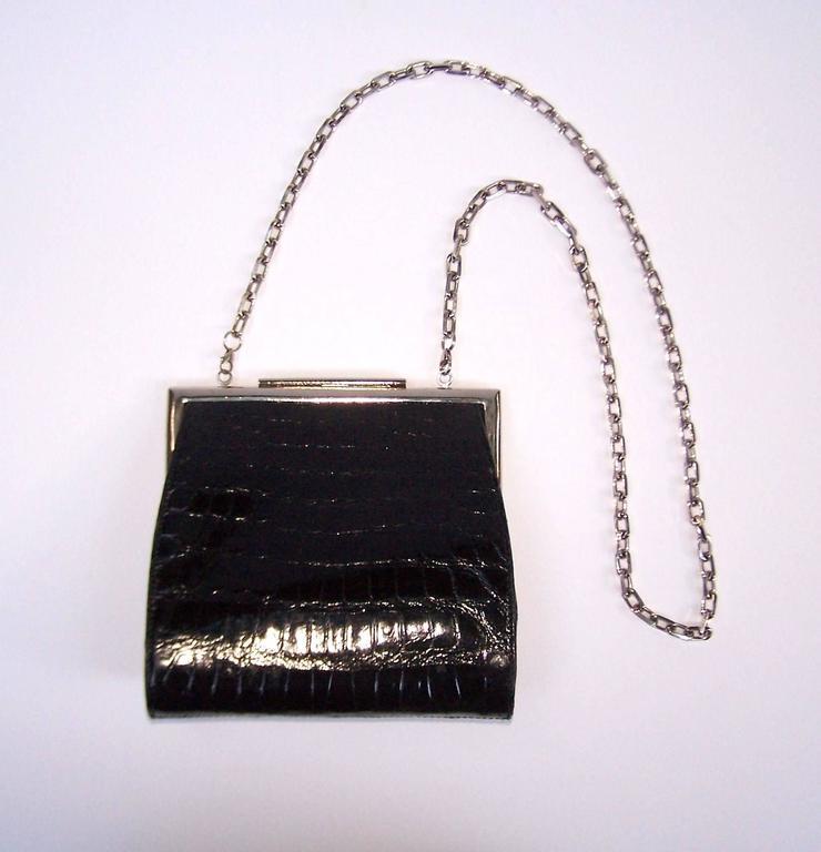 1990 S Calvin Klein Black Alligator Biker Chic Handbag